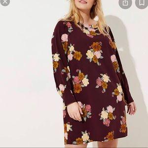 Ann Taylor Loft burgundy floral shift dress plus